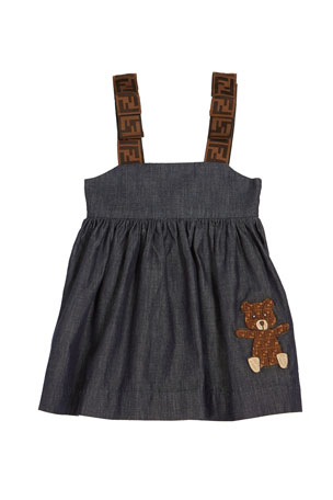 Fendi Girl's Chambray FF-Trim Sleeveless Dress, Size 12-24 Months