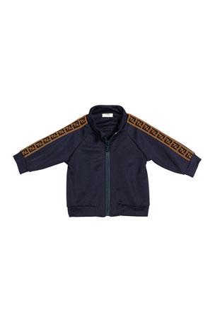 Fendi Boy's Track Jacket w/ Logo Taping, Size 12-24 Months