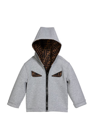 Fendi Boy's Reversible Hooded Logo Jacket with Eyes, Size 12-24 Months
