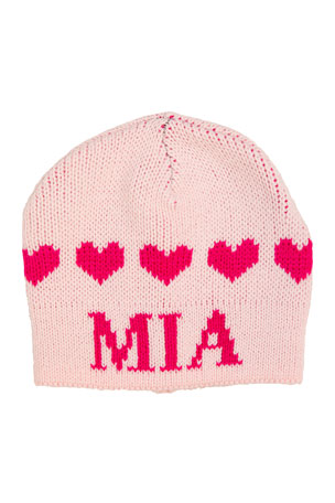 Butterscotch Blankees Kid's String of Hearts Beanie Hat, Personalized