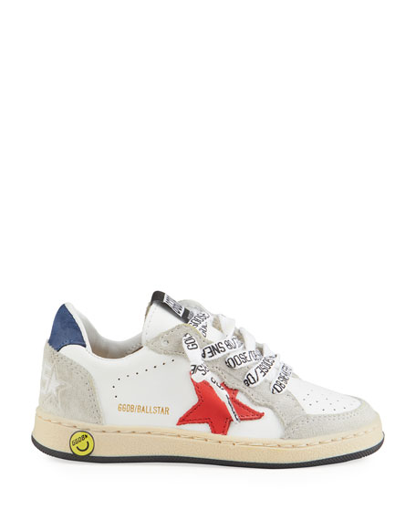 Image 2 of 4: Golden Goose Ball Star Leather Low-Top Sneakers, Baby/Toddler
