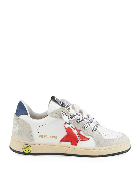Image 2 of 4: Golden Goose Ball Star Leather Low-Top Sneakers, Kids