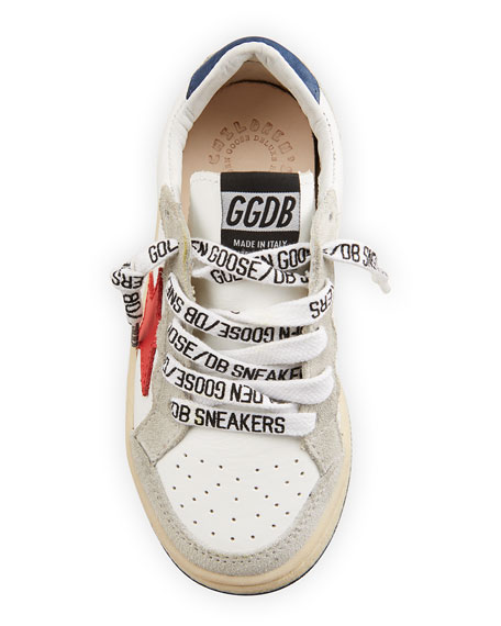 Image 3 of 4: Golden Goose Ball Star Leather Low-Top Sneakers, Kids