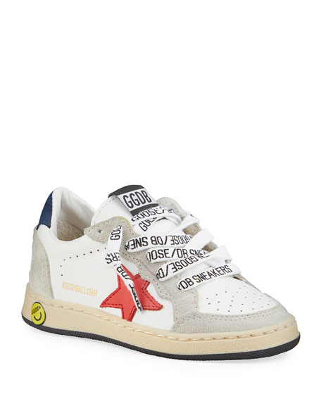 Image 1 of 4: Golden Goose Ball Star Leather Low-Top Sneakers, Kids