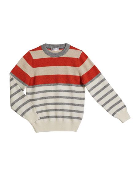 Brunello Cucinelli Boy's Cashmere Striped Sweater, Size 4-6