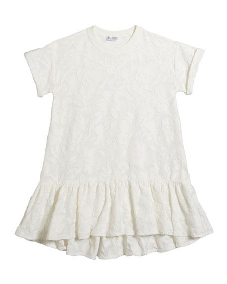 Brunello Cucinelli GIRL'S SHORT-SLEEVE JACQUARD DRESS