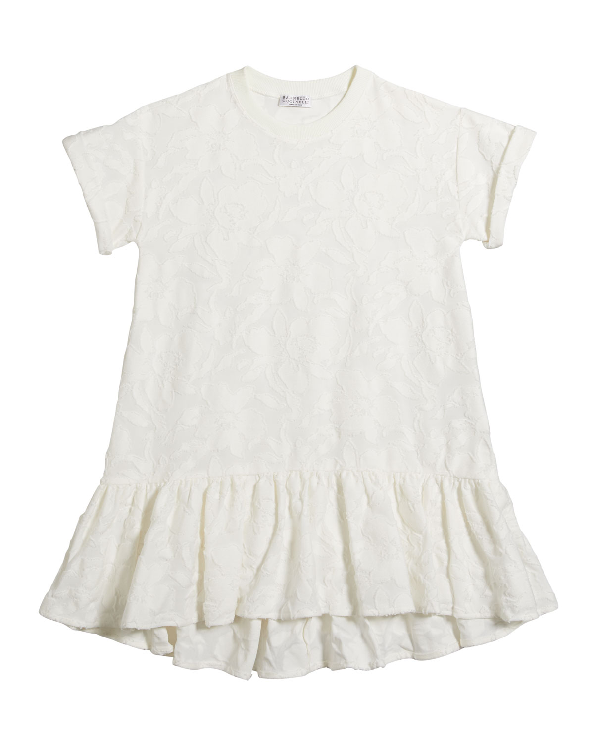 Brunello Cucinelli Girl's Short-Sleeve Jacquard Dress, Size 4-6