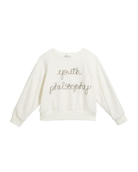 Brunello Cucinelli Girl's Youth Philosophy Cotton Sweatshirt, Size 4-6