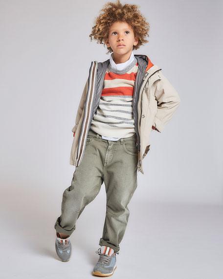 Brunello Cucinelli Boy's Cashmere Striped Sweater, Size 12-14