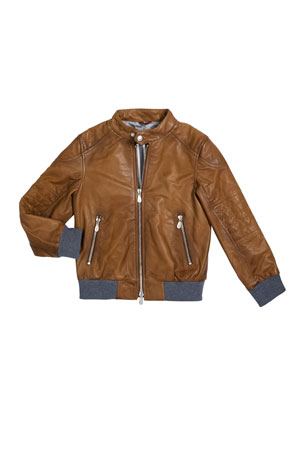 Brunello Cucinelli Boy's Leather Moto Jacket, Size 10