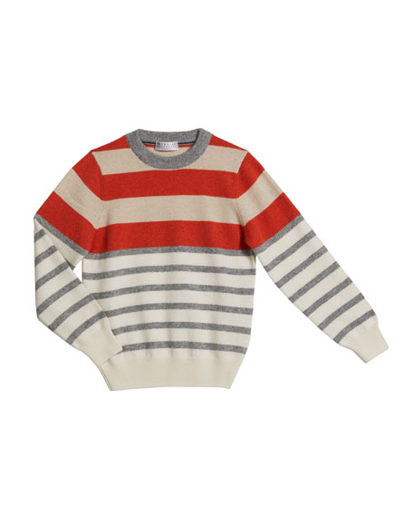 Brunello Cucinelli Boy's Cashmere Striped Sweater, Size 8-10
