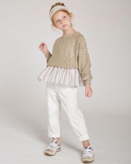 Brunello Cucinelli Girl's Paillette Knit Crewneck Sweater, Size 4-6