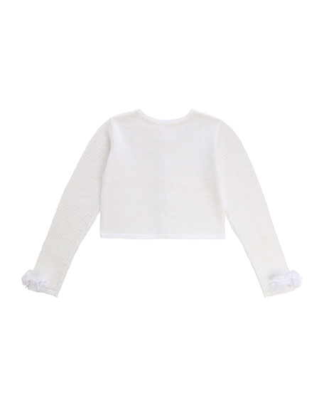 Image 2 of 2: Billieblush Girl's Iridescent Cropped Cardigan w/ Flower Cuffs, Size 4-10