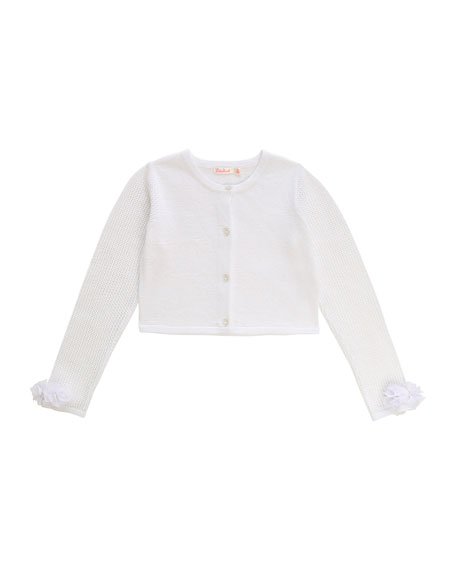 Image 1 of 2: Billieblush Girl's Iridescent Cropped Cardigan w/ Flower Cuffs, Size 4-10