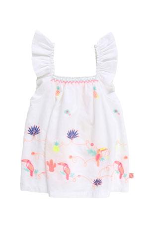 Billieblush Girl's Ruffle-Strap Poplin Top w/ Multicolor Embroidery, Size 4-10