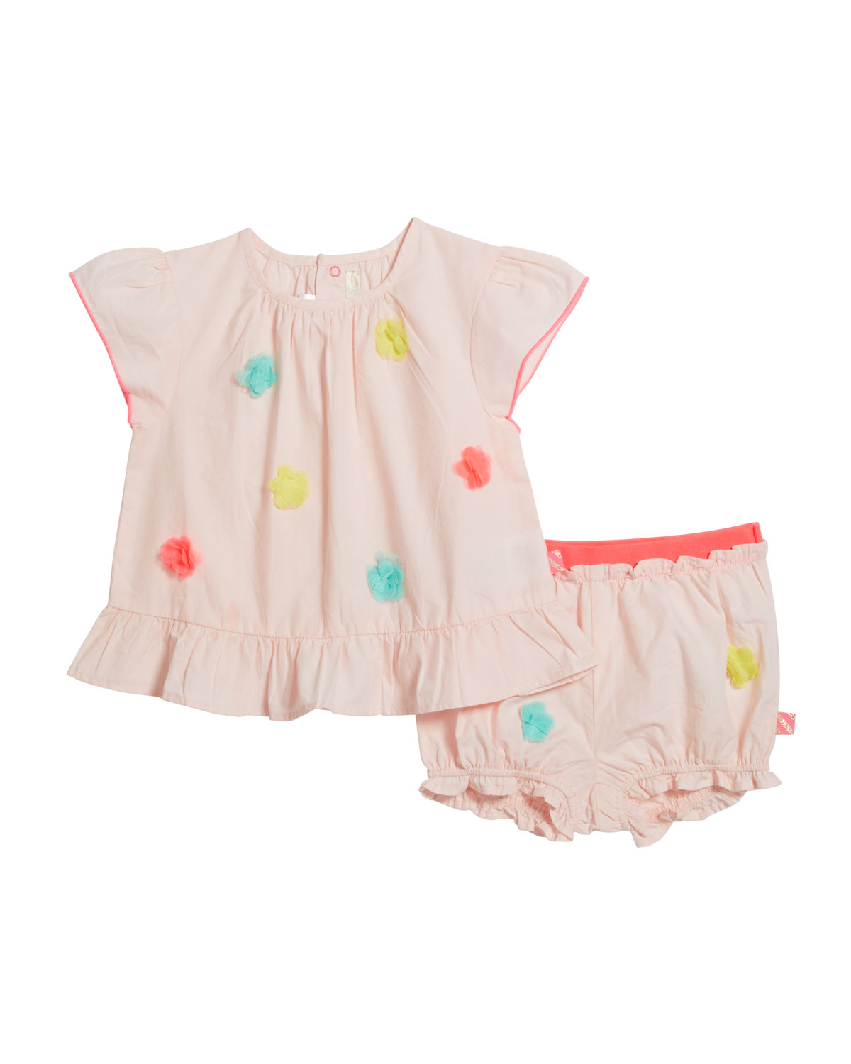 Billieblush Girl's Pompom Blouse w/ Matching Bloomers, Size 12M - 3