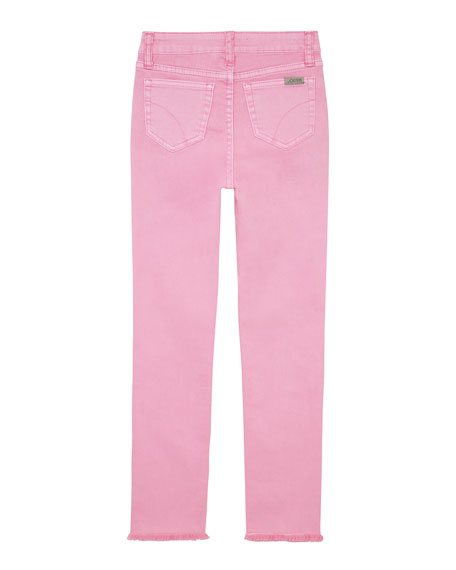 Image 2 of 2: Joe's Jeans Girl's Neon Dyed Raw-Hem Twill Skinny Jeans, Size 7-16
