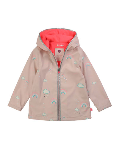 Girl's Color Changing Rainbow Graphic Raincoat  Size 4-10