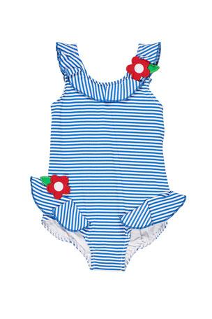 Florence Eiseman Girl's Seersucker Flower One-Piece Swimsuit, Size 2-6X