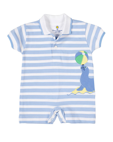 Florence Eiseman Boy's Stripe Pique Knit Seal Polo Shortall, Size 3-18 Months