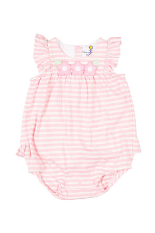 Florence Eiseman Girl's Stripe Knit Romper w/ Flower Appliques, Size 3-18 Months