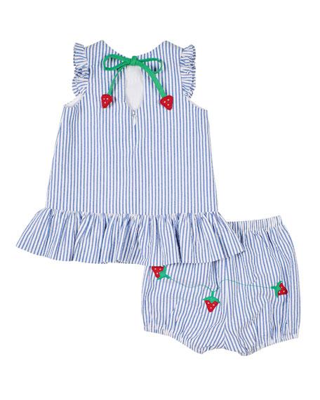 Florence Eiseman Girl's Strawberry Treat Ruffle Top w/ Matching Shorts, Size 3-24 Months