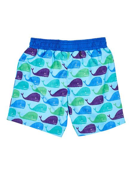 Florence Eiseman Boy's Whale Print Swim Trunks, Size 6-24 Months