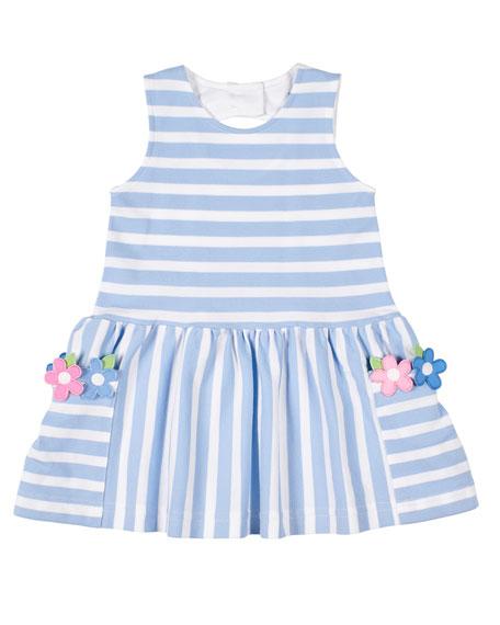 Florence Eiseman Girl's Stripe Pique Knit Dress w/ Flower Appliques, Size 2-6X