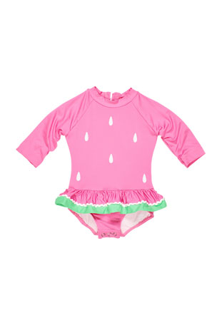 Florence Eiseman Girl's Watermelon One-Piece Rash Guard Swimsuit, Size 6-24 Months
