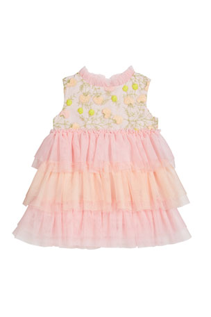 Charabia Girl's Victoria Tiered Tulle Dress, Size 12M-2