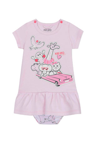 Kenzo Girl's Animal Logo Print Dress w/ Matching Bloomers, Size 6-18 Months