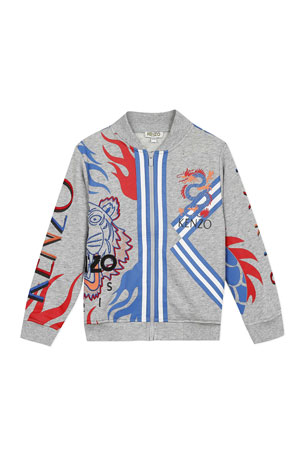 Kenzo Boy's Multi-Iconic Tiger & Dragon Zip-Front Jacket, Size 8-12