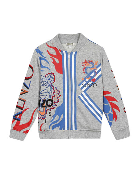Kenzo Boy's Multi-Iconic Tiger & Dragon Zip-Front Jacket, Size 8-12