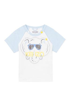 Kenzo Boy's Elephant Logo Raglan T-Shirt, Size 3-18 Months