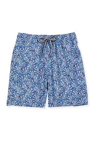 Peter Millar Boy's Mad Monstera Tropical Print Swim Trunks, Size XXS-XL