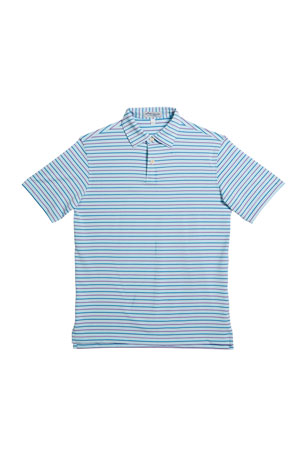 Peter Millar Boy's Wiggs Stripe Stretch Jersey Polo Shirt, Size XXS-XL