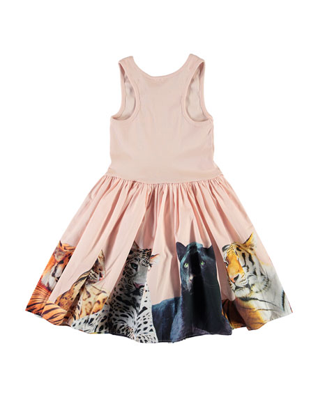 Molo Girl's Cassandra Ribbed Sleeveless Dress w/ Big Cats Skirt, Size 3T-12
