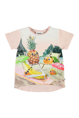 Cowboy Hat Sloth and Cactus Kids Girls Short Sleeve Ruffles Shirt Tee Jersey for 2-6 Toddlers