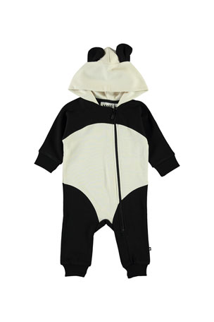 Molo Kid's Flossie Hooded Panda Coverall w/ Ears, Size 3-24 Months