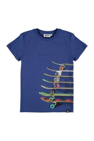 Molo Boy's Raven Skateboard Print Short-Sleeve Tee, Size 4-12