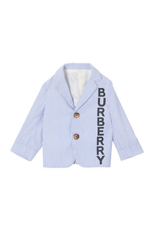 Burberry Boy's Manuel Logo Front Striped Seersucker Jacket, Size 12M-2