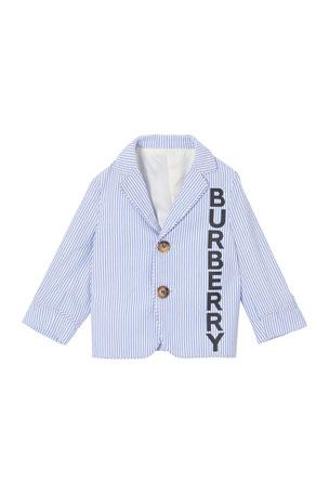 Burberry Boy's Manuel Logo Front Striped Seersucker Jacket, Size 12M-2