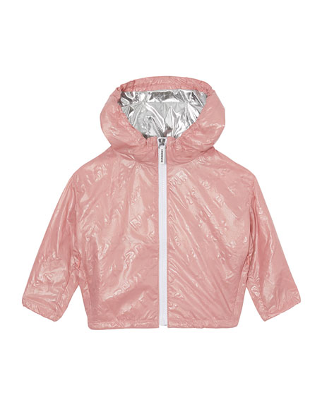 Burberry Girl's Lorenzo Embossed Logo Rain Jacket, Size 12M-2