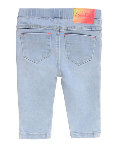 Image 2 of 2: Girl's Extra Stretch Denim Pants w/ Elastic Waist, Size 2-3