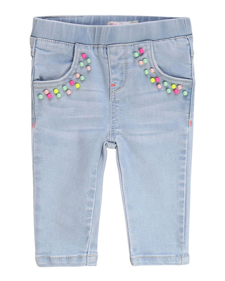 Image 1 of 2: Girl's Extra Stretch Denim Pants w/ Elastic Waist, Size 2-3