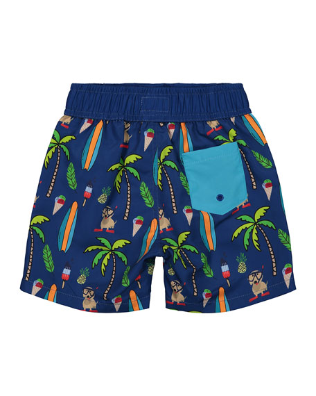 Andy & Evan Boy's Beach Print Swim Shorts, Size 3-24 Months