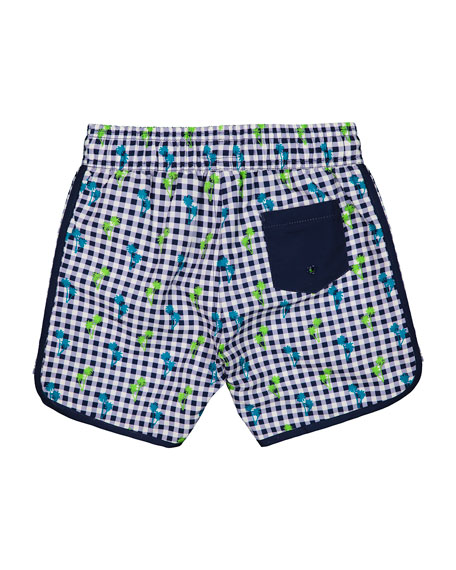 Andy & Evan Boy's Gingham Palm Tree Print Swim Shorts, Size 3-24 Months