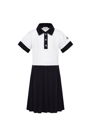 Moncler Girl's Two-Tone Piquet Polo Dress, Size 8-14