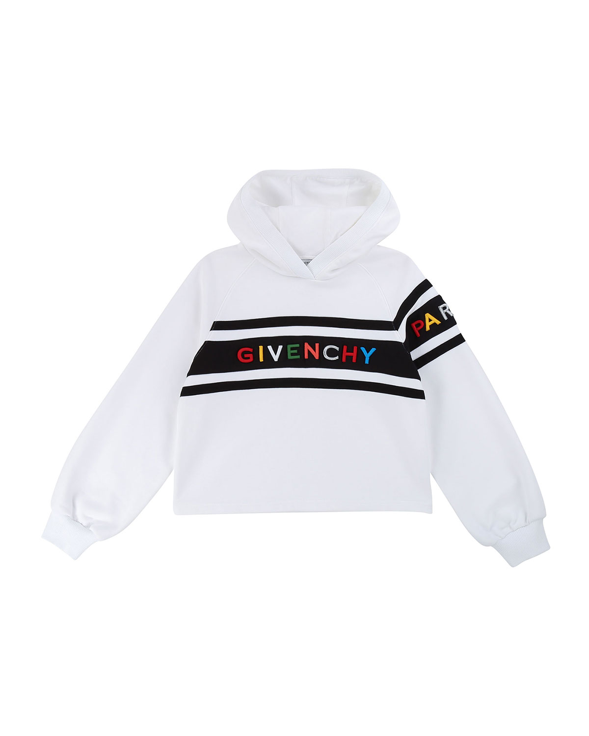 Givenchy Girl's Hooded Sweatshirt w/ Multicolor Logo Text, Size 12-14