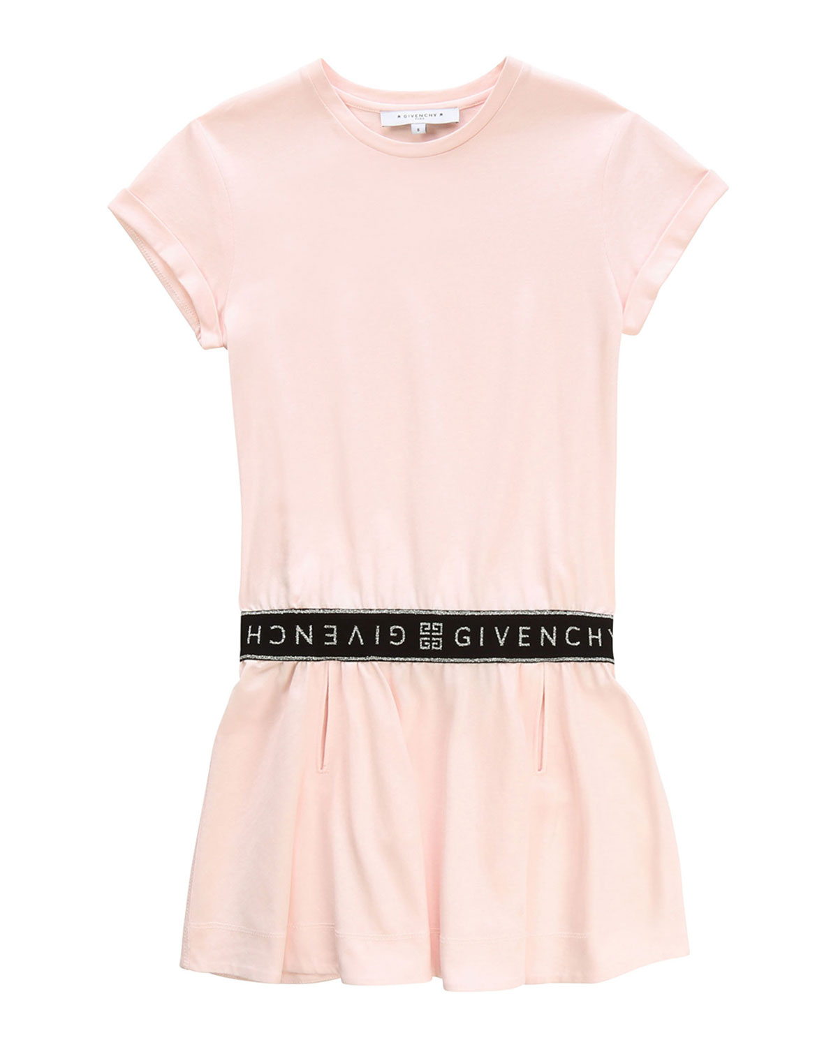 Givenchy Short-Sleeve Dress with Logo Details, Size 4